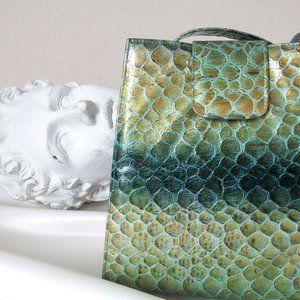 VINTAGE Spain Croc Leather Handbag Paul Melian